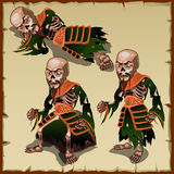 Asian zombies in different physical postures. One man and three pose Stock Photography