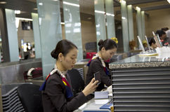 Asiana Airlines check-in counter at Incheon airpor stock photo