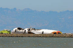 Asiana Airlines Flight 214 after crash landing at San Francisco Airport July 6, 2013 Stock Images