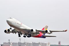 Asiana Cargo Boeing 747. MOSCOW, RUSSIA - MAY 10, 2013: Asiana Cargo Boeing 747 takes off the Domodedovo International Airport, Russia Royalty Free Stock Images