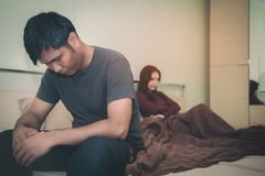 Asians Couples, men and women will have problems with sexual per. Formance. They feel stressed.Health concept stock photo