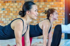 Asians female group doing namaste yoga pose. Fitness asian female group doing namaste yoga pose in row at the yoga class. selective focus Stock Photo
