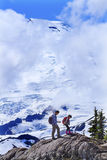 Asians Hiking Mount Baker Under Clouds from Artist Point Washing Stock Photography