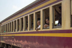 Asians, Thais, people, in a Thai train. In Thailand stock photos