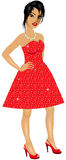 AsianWoman Red Sparkle Dress Royalty Free Stock Image