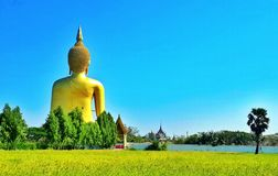Asiastyle Buddha statue temple old temple travel religion beautiful background wallpaper It is an archaeological site Royalty Free Stock Photography
