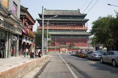 Asiat China, Peking, alte Architektur, der Trommel-Turm Stockfotografie