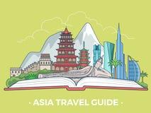 Asiat för stil för lägenhet för baner för typ för Asien loppturism V royaltyfri illustrationer