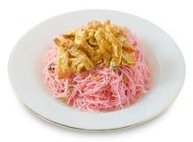 Asiat Fried Rice Vermicelli med ägg och salladslök Arkivfoto