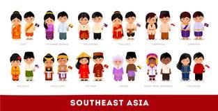 Asiat i nationell kläder South East Asia Uppsättning av tecknad filmcharaen vektor illustrationer