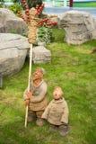 Asiat Kina, Peking, åkerbruk Carnivalï ¼ŒClay skulptur, försäljningstomater på pinnar Arkivbilder