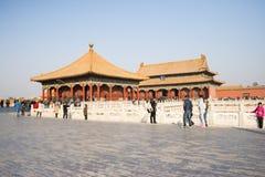 Asiat Kina, Peking, historiska byggnader, den imperialistiska slotten Arkivfoto