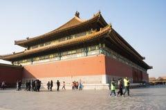 Asiat Kina, Peking, historiska byggnader, den imperialistiska slotten Royaltyfri Bild