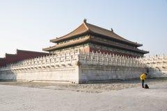 Asiat Kina, Peking, historiska byggnader, den imperialistiska slotten Royaltyfria Foton