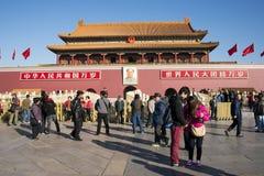 Asiat Kina, Peking, historiska byggnader, den Tiananmen talarstolen Royaltyfri Fotografi