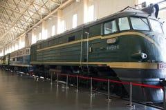 Asiat Kina, Peking, järnväg museum, mässhall, drev Royaltyfri Foto