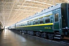 Asiat Kina, Peking, järnväg museum, mässhall, drev Royaltyfri Fotografi