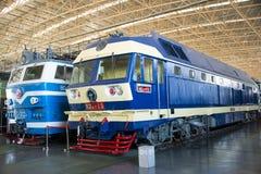 Asiat Kina, Peking, järnväg museum, mässhall, drev Royaltyfri Bild