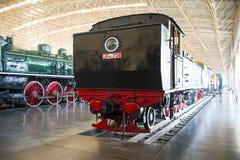 Asiat Kina, Peking, järnväg museum, mässhall, drev Arkivfoto