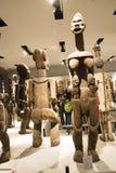 Asiat Kina, Peking, nationellt museum, mässhallen, Afrika, träskulptur Royaltyfri Foto