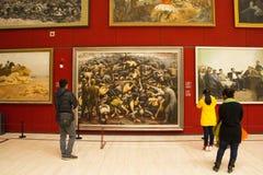 Asiat Kina, Peking, nationellt museum, mässhallen, modern arkitektur Arkivbild