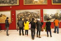 Asiat Kina, Peking, nationellt museum, mässhallen, modern arkitektur Royaltyfri Bild