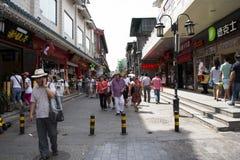 Asiat Kina, Peking, Qianmen Dashilan kommersiell gata, Arkivfoton