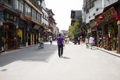 Asiat Kina, Peking, Qianmen Dashilan kommersiell gata, Fotografering för Bildbyråer