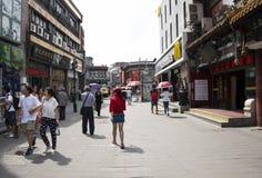 Asiat Kina, Peking, Qianmen Dashilan kommersiell gata, Arkivbilder