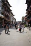 Asiat Kina, Peking, Qianmen Dashilan kommersiell gata, Arkivbild