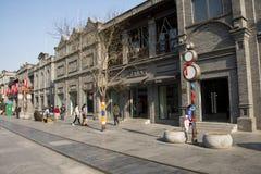 Asiat Kina, Peking, Qianmen, kommersiell fot- gata Royaltyfri Fotografi
