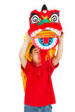 Asiat Little Boy in Chinese-Lion Custome Dance During Chinese-Ne Stockfotografie
