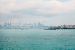Asiat och europeiska delar av Istanbul På rätten är den asiatiska delen av staden, på vänstersidan är den europeiska delen Royaltyfri Bild