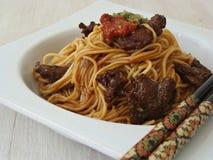 Asiat Somen Noodles mit Rindfleisch Lizenzfreies Stockfoto