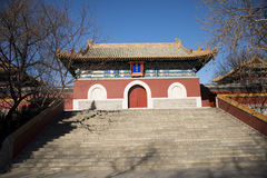 Asiatet Kina, Peking Beihai parkerar, chanfutemplet Arkivfoton