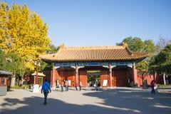 Asiatet Kina, Peking, den Jingshan kullen parkerar, historiska byggnader Royaltyfri Fotografi