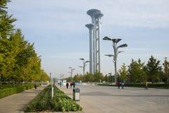Asiatet Kina, Peking som är olympisk parkerar, watchtoweren Arkivbilder