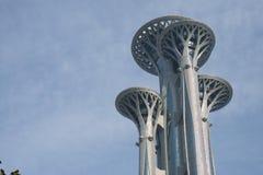 Asiatet Kina, Peking som är olympisk parkerar, watchtoweren Arkivbild