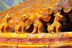Asiatet taklägger i Forbidden City, Beijing, Kina Arkivbild