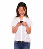 Asiatic charming young woman sending a message Stock Photo