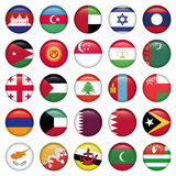 Asiatic Flags Round Buttons. Zip includes 300 dpi JPG, Illustrator CS, EPS10. Vector with transparency Royalty Free Stock Images