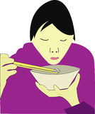 Asiatic food. A illustration of an asiatic boy eating rice vector illustration