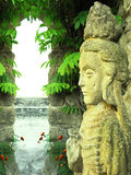 asiatic gudinnaskulptur arkivfoto