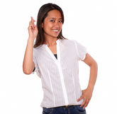 Asiatic smiling young woman crossing the fingers Royalty Free Stock Image