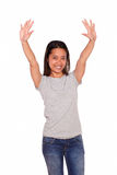 Asiatic young woman greeting with two hands up Stock Photo