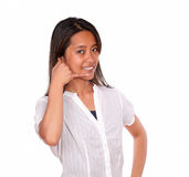 Asiatic young woman looking at you saying call me Stock Photography