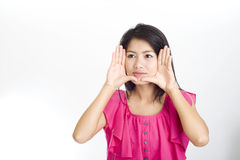 Asiatica fronte incorniciato giovane donna fotografia stock