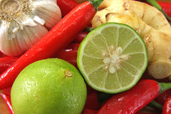 Asiatico che cucina gli ingredienti Fotografie Stock