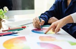 Asiatico del grafico che lavora insieme concetto di idee del redattore di progettazione del ux dei campioni di colore immagine stock libera da diritti