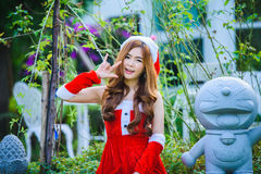 Asiatico Santa Claus Girl Immagini Stock Libere da Diritti
